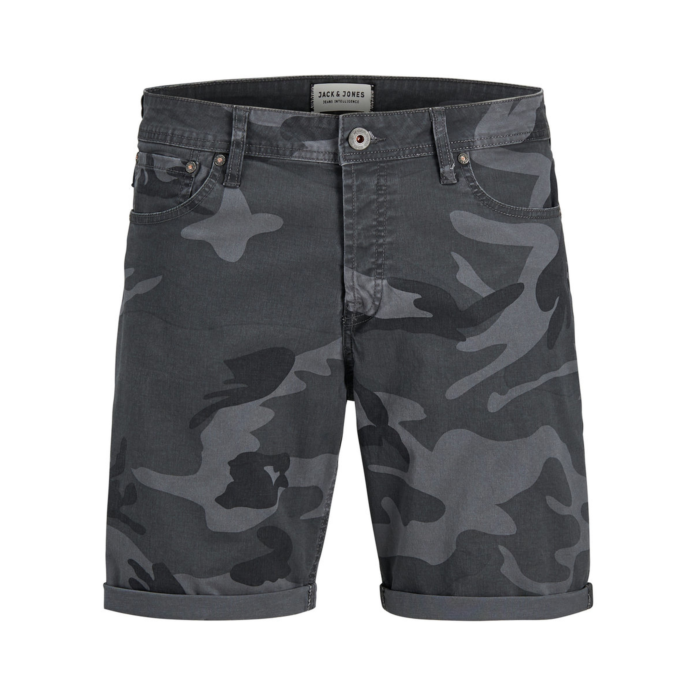 Jack Jones Men S Rick Chino Stretch Shorts Dark Grey Camo Jean Scene