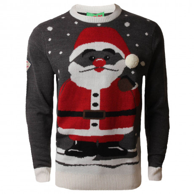 3d Xmas Novelty Jumper Crew Neck Christmas Knit Cool Santa Charcoal