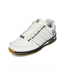 K-Swiss Men's Rinzler SP Leather Shoes Trainers White/Black | Jean Scene