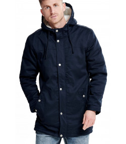 Only & Sons Parka Teddy Woven Jacket Night Sky | Jean Scene