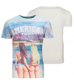 Soul Star Crew Neck Print T-shirt American Dream Hot Girl White