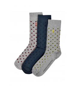 French Connection Mens Felix Geo Ken Dot Socks Grey & Blue - 3 Pack
