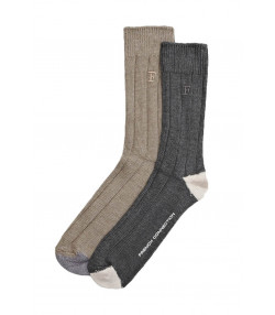 French Connection Felix Formal Socks Sand & Filigree Grey - 2 Pack