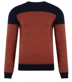 Blend Crew Neck Knitted Pullover Navy Blue Orange Image