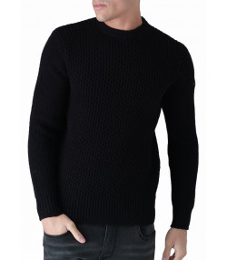 Duck and Cover Crew Neck Heavy Beam Jumper Black | Jean Scene