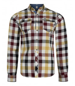 Lee Cooper Men's Long Sleeve Check Shirt Ecru Beige | Jean Scene