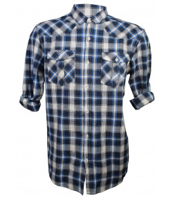 Soulstar Casual Check Shirt Long Sleeve Blue | Jean Scene