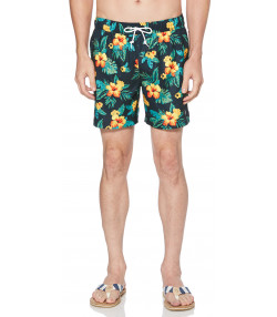 Original Penguin Men's Floral Elastic Volley Swim Shorts Dark Sapphire | Jean Scene