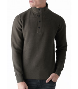 Duck and Cover Button Neck Cotton Strand Jumper New Peat | Jean Scene
