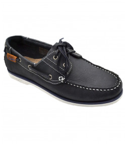 Wrangler Mens Low Ocean Leather Boat Shoes Navy Shoes | Jean Scene
