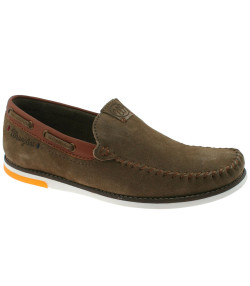 Wrangler Mens Low Sharky Suede Slip On Boat Shoes Khaki Shoes | Jean Scene